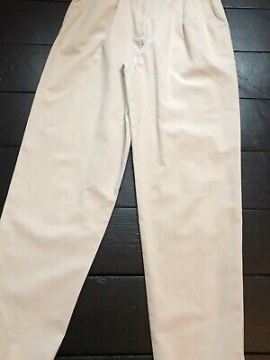 vintage 80's ivory cream cotton high waisted trousers