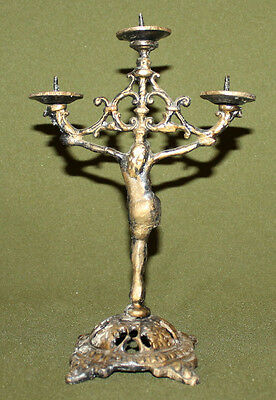 Vintage hand made ornate brass religious candelabra with 3 cups