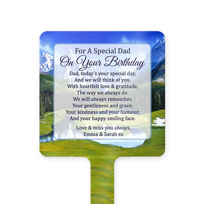 Personalised Happy Birthday Dad Memorial Card Ground Stake Grave Stone Golf