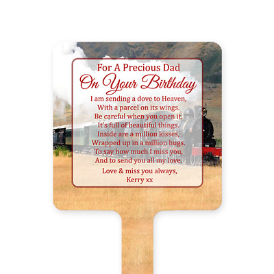 Personalised Happy Birthday Dad Memorial Card Ground Stake Grave Stone Train