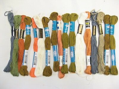 17 Semco autumn neutral rust olive grey peach Stranded cotton embroidery floss