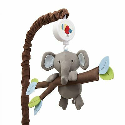 Lambs & Ivy Treetop Buddies Brown/Blue/Green Elephant Musical Baby Crib Mobile