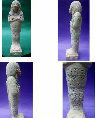 RARE ANCIENT EGYPTIAN ANTIQUES LARGE SHABTI USHABTI With Hieroglyphics STONE BC