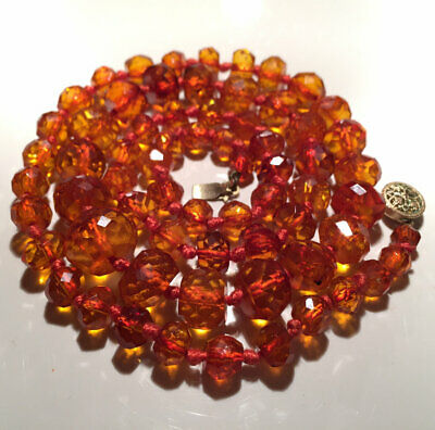 SUPERB ANTIQUE ART DECO NATURAL FACETED HONEY AMBER BEAD NECKLACE 21g