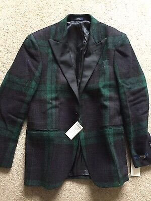 Ralph Lauren Polo Blazer Jacket Tweed Designer Wool 40 R tartan