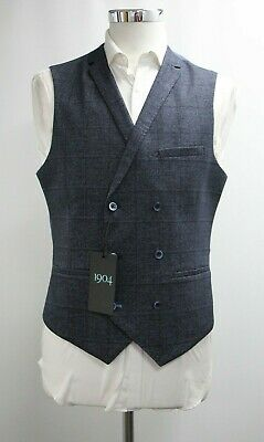 Men's 1904 Double Breasted Waistcoat in Checked Navy Blue (M)...Ref: 7244