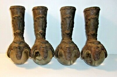 Set of 4 Claw & Glass Ball Feet with Faces - Chief or Old Man? Cast Iron REDUCED
