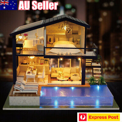 DIY LED Music Apartments Dollhouse Miniature Wooden Furniture Kit Gifts Toy OZ