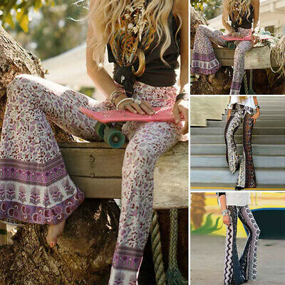 Women's Skinny Flare Print High Waist Bell Bottoms Wide Leg Yoga Pants Trousers