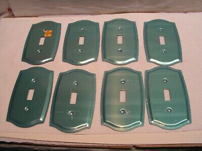 8 Vintage Heavy Gauge Brass Toggle Switch Plate Covers W/ 16 Screws Never Used.