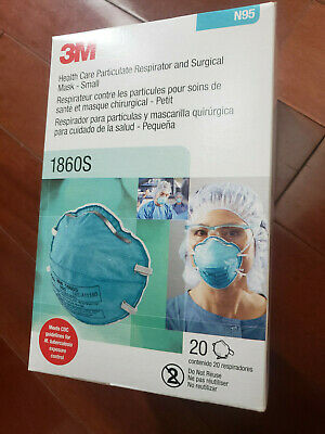 NEW 3M 1860S N95 Health Care Particulate Respirator Face Mask - 20 PC - 09/2024
