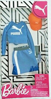 Barbie Fashion Pack PUMA Outfit for Doll -  Blue Skirt Top Hat Bottle
