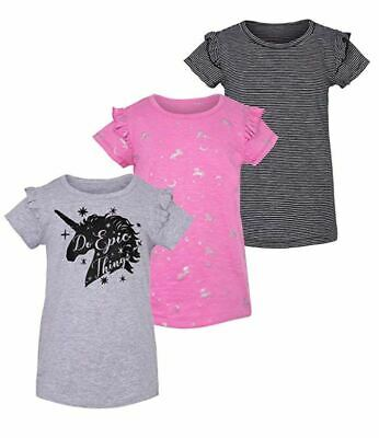 VIGOSS Big Girls' 3-Pack T-Shirt Set Grey, Pink, Black Stripe Medium