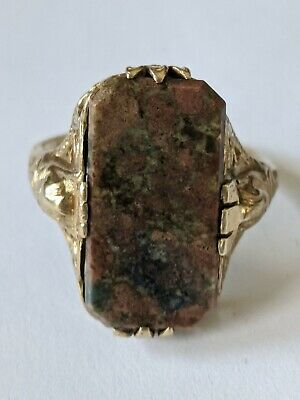 Antique Art Deco 10K Solid Gold Filigree Agate Ring Size 6 1/2