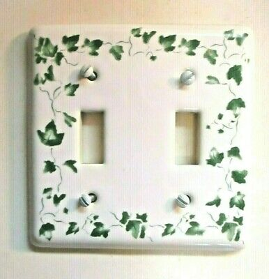 Yield House Porcelain Taiwan 2 Gang Switch Plate Cover White & Green Ivy Vintage