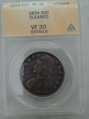 1834 Capped Bust Half Dollar Anacs Vf30 (Cleaned)