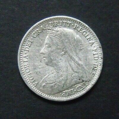 1900 VICTORIA THREEPENCE.  925 Sterling Silver British Coin.  Silver 3d.    989