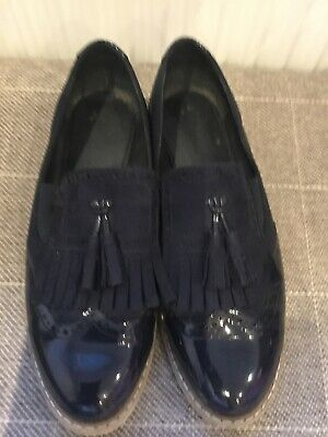 Ladies Navy Blue Slip On Brogues Loafers Size 6 EU 38 Patent Suede Flat Shoes