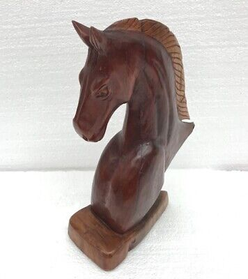 Hand Carved Wood Horse Head Bust Sculpture Carving Folk Art Vintage Statue Deco