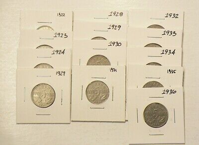 1922 to 1936 Canada 5 Cents Lot of 13 Nickels #4130