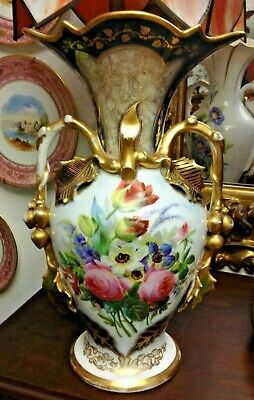 FREE SHIPPING! Antique French Old Vieux Paris Porcelain Vase Hand-Painted Flower