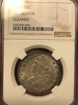 1830 50C Capped Bust Half Dollar NGC AU Details Cleaned
