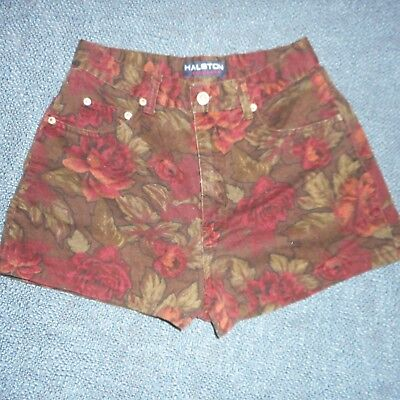 Vintage Halston High Waist Short Shorts / Hot Pants 6 Designer Floral 5 Pockets