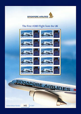 2008 BC-136 10x1st 1st Flight A380 from UK SIA Smiler Sheet # 0432/2007 MNH bbvy