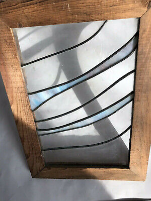 "Antique Art Deco Lead Stained Wavy Clear Turquoise Glass Window Framed 16.5"" x11"