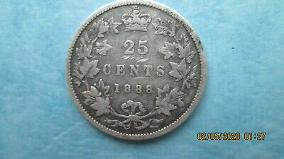 Canada 1888 25 Cents Twenty Five Cent Silver Coin - VG/F
