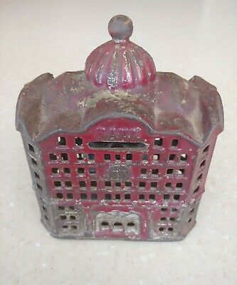 Antique Ornate Cast Iron Bank Building Coin Bank
