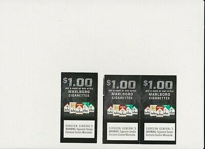 7 Cigarette Coupons Total $18 value  Marlboro, Camel and Kool