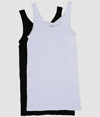 $98 Coobie Women's White Black 2-Pack Stretch Cami Scoop-Neck Tank-Top One Size