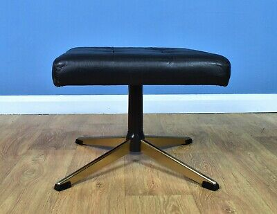 Mid Century Retro Vintage Danish Black Leather Swivel Foot Stool Ottoman 1970s