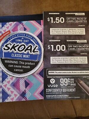 Camel Cigarette and Skoal coupons