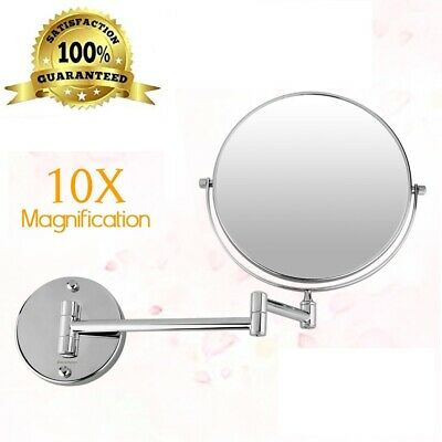 """8"""" Wall Mount Makeup Beauty Mirror Folding Double Sided Chrome 10X Magnifying US"""