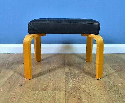 Mid Century Retro Vintage Danish Bentwood Black Leather Foot Stool Ottoman 1970s
