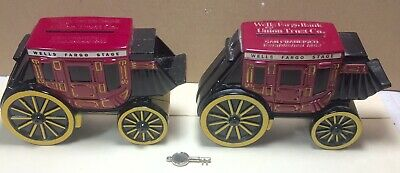 Two WELLS FARGO Stage Coach Wagon Die Cast Metal Piggy Bank Very Nice L@@K