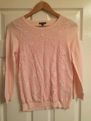 Womens Warehouse Pretty Pink Lace Jumper White Flowers Size 8
