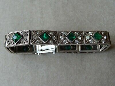 Antique Jewellery Art Deco Sterling Silver Emerald Green Paste Stone Bracelet