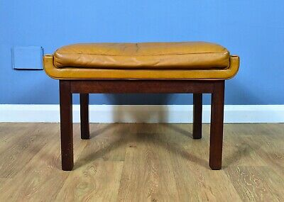 Mid Century Retro Vintage Danish Skippers Mobler Caramel Leather Foot Stool 70s
