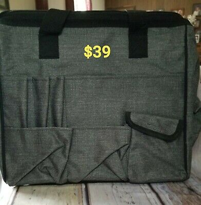 Thirty One Get Creative CARRY ALL in Charcoal Crosshatch NWT