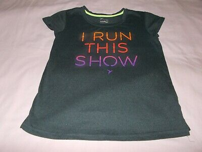 Girls Old Navy Active Shirt Top Size XL 14 Dark Gray Multi Colored Words