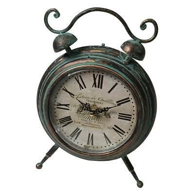 French Antique Round Metal Table Clock Vintage Bedside Desktop Analogue 27x21cm