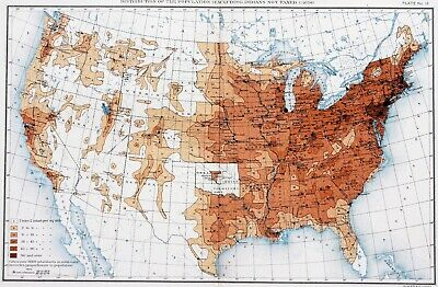 1900 United States Map Indians Not Taxed Census Population Texas Great Lakes