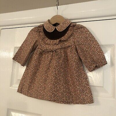 Vintage Baby Girls Esterire Brown And Pink Floral Flock Dress - 3 Months