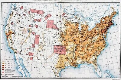 1870 United States Map INDIANS NOT TAXED Census Population Texas Great Lakes