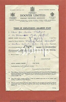 1940s Terms Of Employment Document - Salaried Staff - Hoover Limited