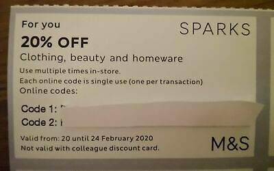 Marks And Spencer 20% off online code voucher discount m&s m & s