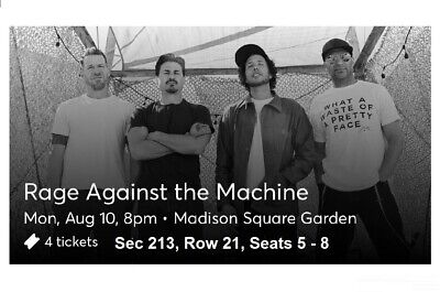 Tickets Rage Against The Machine 8/10/20 New York, NY MSG Sec 213 Row 21